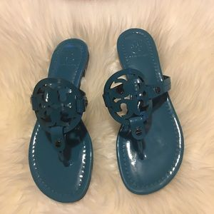 Tory Burch Miller patent sandals in teal